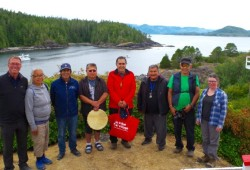 Mowachaht Muchalaht elders after a blessing ceremony on San Rafael Island at Yuquot, flanked by MMFN administrator Kevin Kowalchuk and archeologist Colleen Parsley. From left, Kowalchuk, Margarita James, Anthony Dick, Bruce Mark, Bill Howard, Leonard Mark, Edwin Jack and Parsley. (Submitted photo)