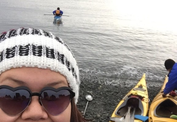 Natasha Charleson takes a selfie before kayaking as part of the Indigenous Ecotourism Training Program, near Nanaimo. (Photo suppled by Natasha Charleson)