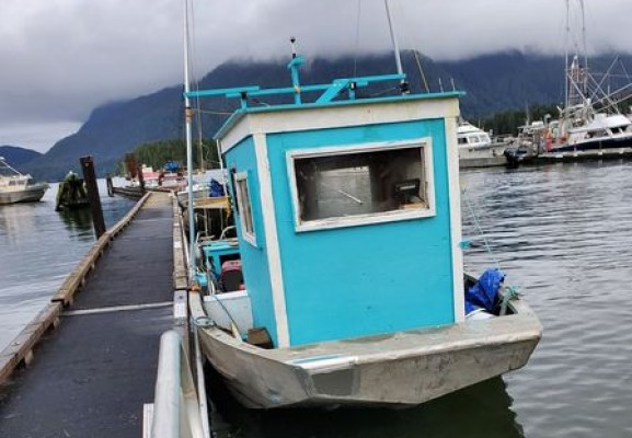 Harry Lucas left Tofino for Hot Springs Cove on Dec. 31 in his skiff. (Facebook photo)