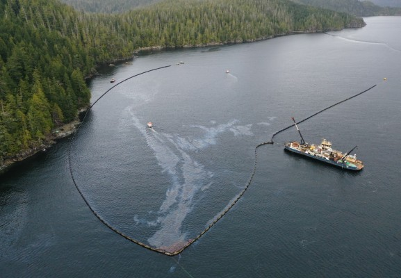 Oil containment booms have been deployed off Bligh Island in Nootka Sound since early December. (WCMRC photo)