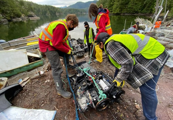 Nine derelict vessels will be removed from Ucluelet Inlet as part of the west coast coastal improvement project. (Coastal Restoration Society photo)