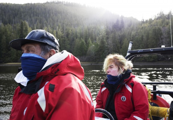Joe Titian and Brianna Lambert look to their instructor during practical training as part of the Captain's Boat Camp, in Cannery Bay, near Tofino, on Feb. 22 2021. Photograph by Melissa Renwick